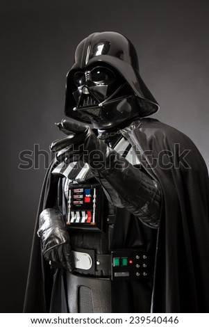SAN BENEDETTO DEL TRONTO, ITALY. DECEMBER 5, 2014. Half-lenght portrait of Darth Vader costume replica . Darth Vader or Dart Fener is a fictional character of Star Wars saga. Black portrait - stock photo