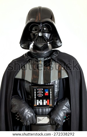 SAN BENEDETTO DEL TRONTO, ITALY. DECEMBER 5, 2014. Half-lenght portrait of Darth Vader costume replica. Darth Vader or Dart Fener is a fictional character of Star Wars saga. White background