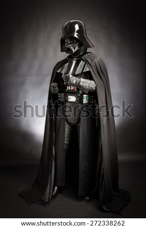 SAN BENEDETTO DEL TRONTO, ITALY. DECEMBER 5, 2014. Studio portrait of Darth Vader costume replica. Darth Vader or Dart Fener is a fictional character of Star Wars saga. Black background  - stock photo