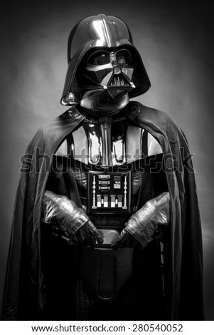 SAN BENEDETTO DEL TRONTO, ITALY. MAY 16, 2015. Half lenght portrait of Darth Vader costume replica . Darth Vader is a fictional character of Star Wars saga.  Black and white picture - stock photo