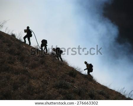 SAN BERNARDINO CALIFORNIA - NOVEMBER 05: San Bernardino County California Devore Brush Fire 2012 - stock photo