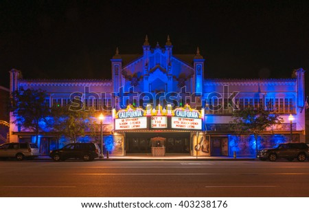 SAN BERNARDINO,USA - OCTOBER 3: California Theater of the Performing Arts night scene showing of the retro era neon lighting on October 3, 2015 San Bernardino USA