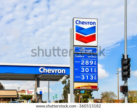 San Carlos, CA, USA - Jan. 10, 2016: Chevron Gas Station. Headquartered in San Ramon, CA, Chevron Corporation is an American multinational energy corporation.