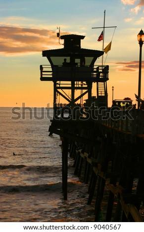 San Clemente Lifeguard Tower at Sunset - stock photo