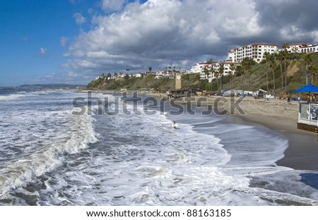 San Clemente looking North from the Pier towards Dana Point after a storm - stock photo