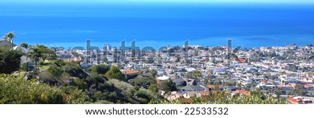 San Clemente Pier taken from the Hills on Misty Ridge - stock photo