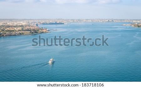 San Diego Bay from Coronado Bridge - California United States - stock photo