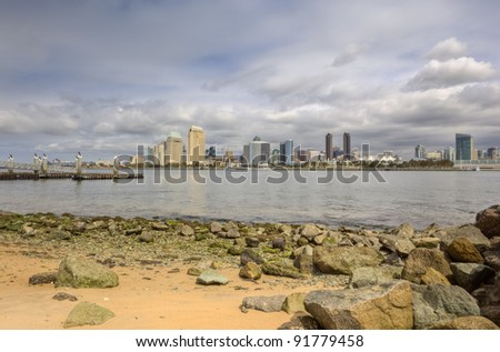 San Diego Bay & Skyline as seen from Coronado - stock photo