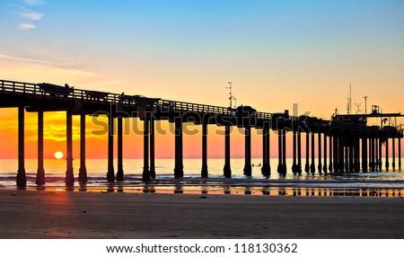 San Diego Beach Sunset and Pier at La Jolla Shores San Diego, California - stock photo
