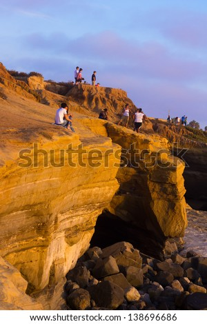 SAN DIEGO, CA - AUG 12: Sunset Cliffs Natural Park at San Diego, Point Loma CA on Aug. 12, 2012. Dedicated in 1983, Sunset Cliffs Natural Park is a 68-acre park stretching along the Pacific Ocean - stock photo