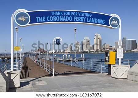 SAN DIEGO, CA - FEB. 12, 2013: A View of Coronado Ferry Pier & San Diego. San Diego is second-largest city at the Pacific Ocean in California. It is the eighth-largest city in the United States. - stock photo