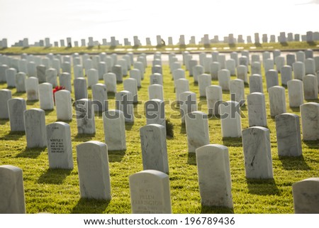 SAN DIEGO, CA - January 3: Overview of Fort Rosecrans National Cemetery on January 3, 2014 in San Diego, California.