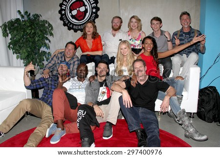 SAN DIEGO, CA - JULY 12: The cast of Heroes Reborn panel pose for a group photo at the Nerd HQ held at The New Children's Museum on July 12, 2015 in San Diego, CA. - stock photo