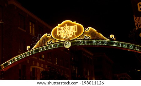 SAN DIEGO , CA - MAY 05 : The Gas Lamp Quarter in San Diego California on May 05 2014 , Gaslamp is the historic heart of San Diego.   - stock photo