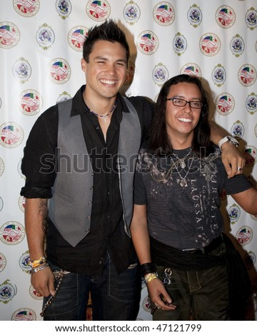 SAN DIEGO, CA - NOVEMBER 22: Michael Copon (L) & Efren Ramirez attend the 3rd annual Evening with the Stars prior to the 62nd annual Mother Goose Parade November 22, 2008 in San Diego, CA - stock photo