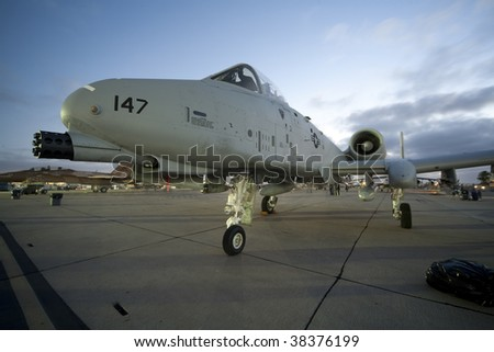 "SAN DIEGO, CA - OCTOBER 3: A U.S. A-10 Thunderbolt II ""Warthog"" on display at the MCAS Miramar airshow on October 3, 2009 in San Diego, CA."