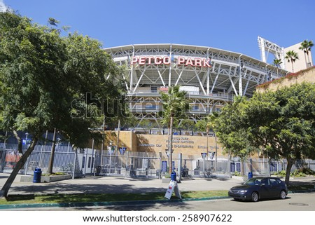SAN DIEGO, CA - SEPTEMBER 27, 2014: Petco Park Stadium, home of the Padres baseball team, in San Diego. Petco Park is an open-air ballpark in downtown San Diego, California - stock photo
