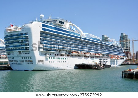 SAN DIEGO CA USA APRIL 07 2015: Crown Princess is a Grand-class cruise ship owned and operated by Princess Cruises. he ship godmother is Martha Stewart.  - stock photo