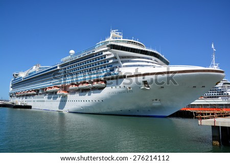 SAN DIEGO CA USA APRIL 07 2015: Crown Princess is a Grand-class cruise ship owned and operated by Princess Cruises. he ship godmother is Martha Stewart.