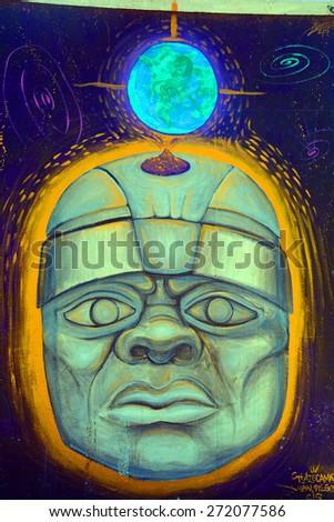 SAN DIEGO CA USA APRIL 7: Maya statue mural in Balboa Park�s vibrant WorldBeat Cultural Centeron april 7 2015 in San Diego CA USA - stock photo