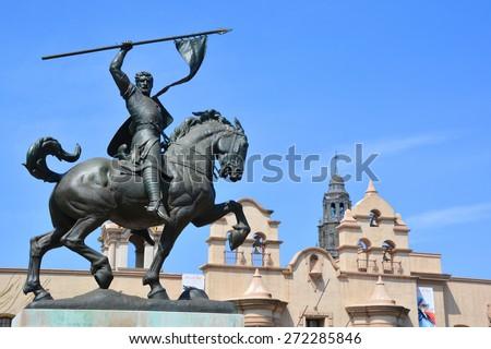 SAN DIEGO CA USA APRIL 11 : The 23 foot tall statue of Rodrigo Diaz de Vivar (El Cid) of Spain's war against the Moors. Balboa Park San Diego. On april 11 2015 - stock photo