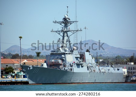 SAN DIEGO CA USA APRIL 09 2015: USS Spruance (DDG-111) is an Arleigh Burke-class guided missile destroyer currently in service with the United States Navy. She is the 61st ship in her class. - stock photo