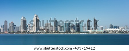 SAN DIEGO, CALIFORNIA - AUGUST 9: San Diego skyline from Centennial Park on Coronado Island on August 9, 2016 in San Diego, California