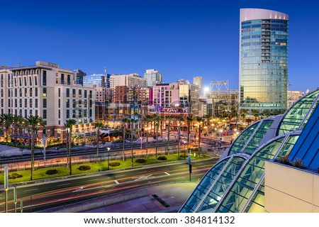 San Diego, California cityscape at the Gaslamp Quarter. - stock photo