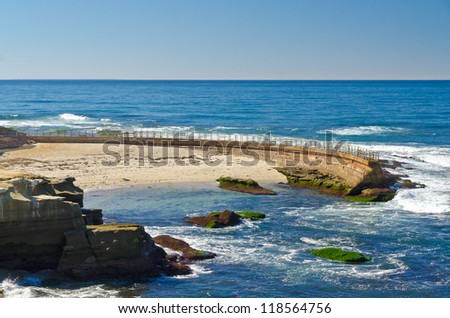 San Diego California Coast Line, La Jolla Shores in San Diego, California USA - stock photo