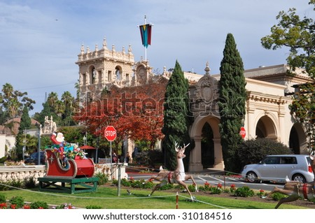 SAN DIEGO, CALIFORNIA - DEC 18: Christmas decorations at Balboa Park in San Diego, California, as seen on December 18, 2013. Balboa Park is a 1,200-acre urban cultural park in San Diego. - stock photo