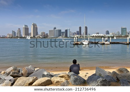 San Diego California from Coronado island. - stock photo