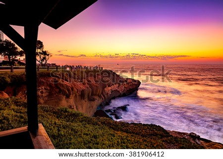 San Diego California, La Jolla Cove Sunset, USA - stock photo