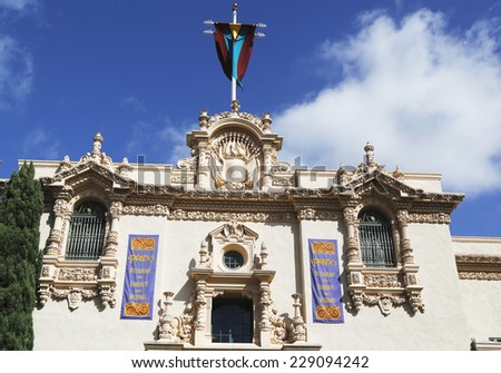 SAN DIEGO, CALIFORNIA - SEPTEMBER 28: Casa del Prado at Balboa Park in San Diego, California on September 28, 2014 - stock photo