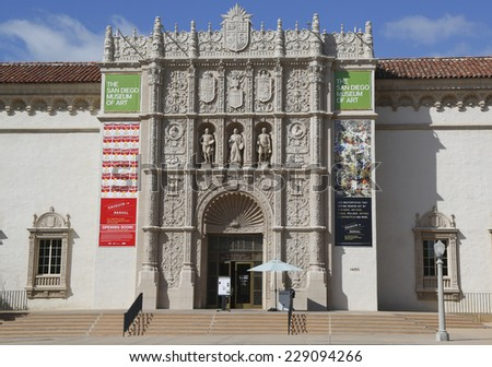 SAN DIEGO, CALIFORNIA - SEPTEMBER 28: San Diego Museum of Art in Balboa Park in San Diego on September 28, 2014 - stock photo