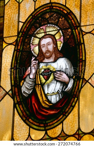 SAN DIEGO, CALIFORNIA, USA 07 APRIL: Sacred Heart of Jesus stained Glass in the Immaculate Conception Church on april  07 2015 in Old San Diego CA USA - stock photo