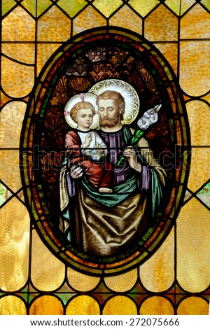 SAN DIEGO, CALIFORNIA, USA 07 APRIL: Saint Joseph stained Glass in the Immaculate Conception Church on april  07 2015 in Old San Diego CA USA - stock photo