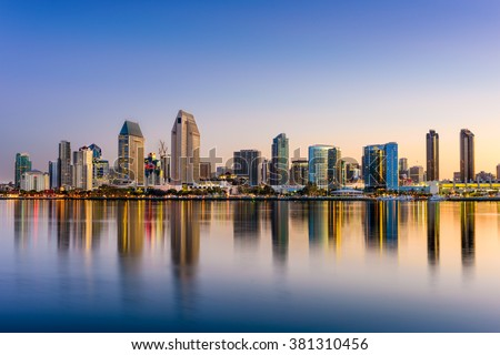 San Diego, California, USA downtown skyline at the Embarcadero. - stock photo