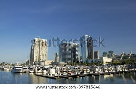 SAN DIEGO, California, USA - March 15, 2016: hotels and harbour in San Diego downtown, USA.