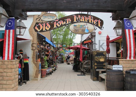San Diego, California, USA - May 25, 2015: Old Town San Diego is the oldest settled area in San Diego and is the site of the first European settlement in present-day California. - stock photo
