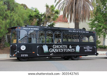 San Diego, California, USA - May 25, 2015: Old Town Trolley Tour of San Diego offers tourists sightseeing tours in Old Town San Diego Area, the oldest settled area in San Diego.