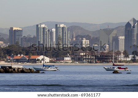 San Diego California view from a boat at sea. You can see Balboa cathedral tower in the middle.