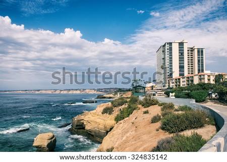 San Diego cliffs on the Pacific Ocean, California USA - stock photo