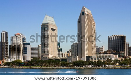 San Diego  close-up view of from bay,California. - stock photo