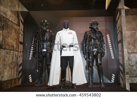 SAN DIEGO COMIC CON: July 20, 2016. Costumes from the film Star Wars: Rogue One on display at the annual pop culture and entertainment convention in San Diego, California.
