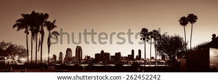 San Diego dawn in early morning with palm tree silhouette in BW. - stock photo