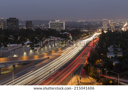 San Diego Freeway running through the west side of Los Angeles, California.   - stock photo