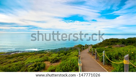 San Diego Hiking Path in Point Loma San Diego Near Cabrillo National Monument, San Diego, Southern California - stock photo