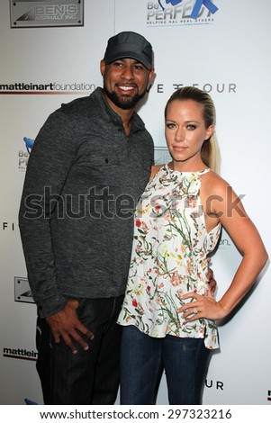 SAN DIEGO - JUL 16:  Kendra Wilkinson, Hank Baskett at the 9th Annual Celebrity Bowl for Charity at the Lucky Strike on July 16, 2015 in Los Angeles, CA - stock photo