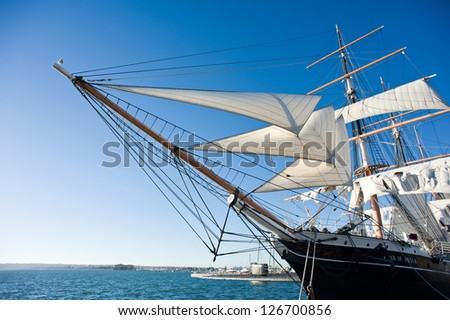 SAN DIEGO - OCTOBER 29: Star of India docked on October 29, 2012 in San Diego. Star of India is the world's oldest active sailing ship, built in 1863 and now home to the Maritime Museum of San Diego. - stock photo