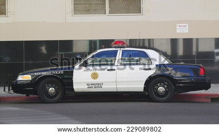 SAN DIEGO - SEPTEMBER 29 - San Diego Police Department car on September 29, 2014.The San Diego Police Department  is the primary law enforcement agency for the city of San Diego, California - stock photo